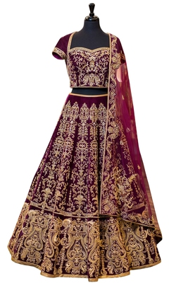 Rozy Fashion Wine embroidered semi velvet semi stitched lehenga choli material with matching net dupatta