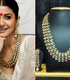 Buy Anushka Sharma Bollywood Traditional Kundan Pearl Necklace Set with Free Mang Tika women-ethnic-wear online
