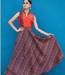 Buy Orange printed Taffeta silk long-kurtis long-kurtis online
