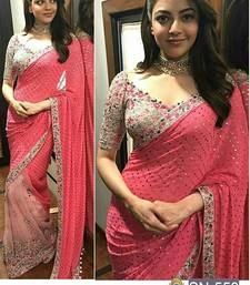 Buy Pink embroidered georgette saree with blouse kareena-kapoor-saree online