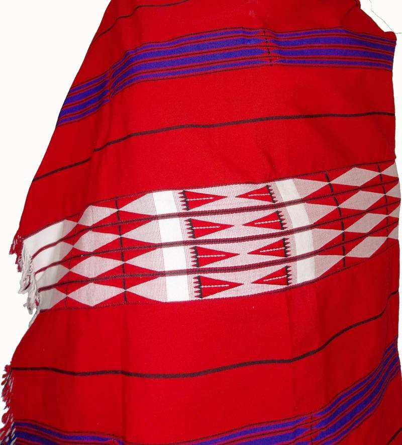 hand-woven shawl from nagaland-red  white  black and blue weaving - ramdhenu