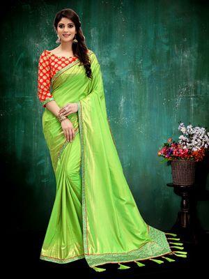 Parrot green plain art silk saree with blouse
