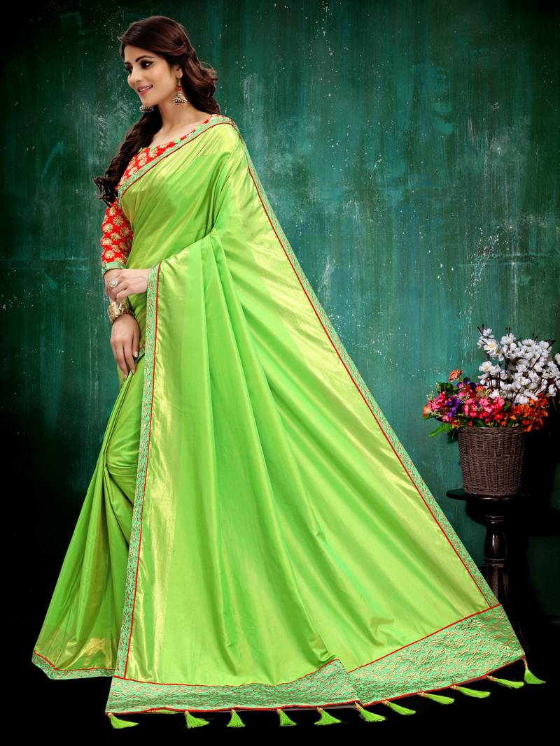 58a1e0c25b6b4 Parrot green plain art silk saree with blouse jpg 800x1067 Parrot green  blouse plain colored pictures