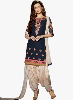 Navy blue embroidered georgette salwar with dupatta