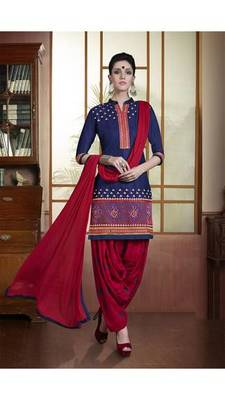 Navy blue embroidered pure cotton salwar with dupatta