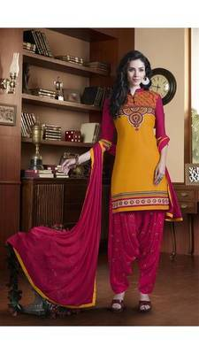 Yellow embroidered pure cotton salwar with dupatta