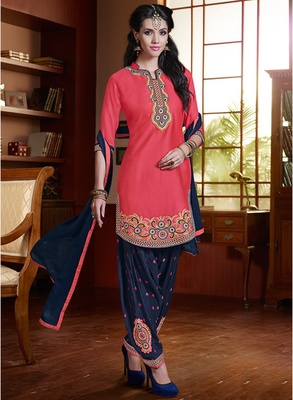Rani pink embroidered pure cotton salwar with dupatta