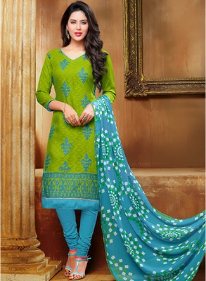 Green printed jacquard salwar with dupatta