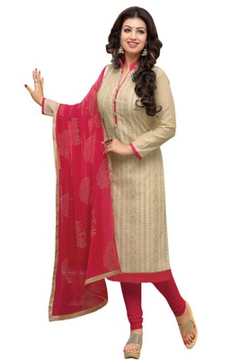 Beige printed chanderi salwar with dupatta