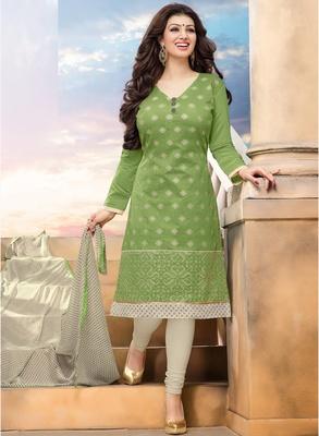 Light green printed chanderi salwar with dupatta