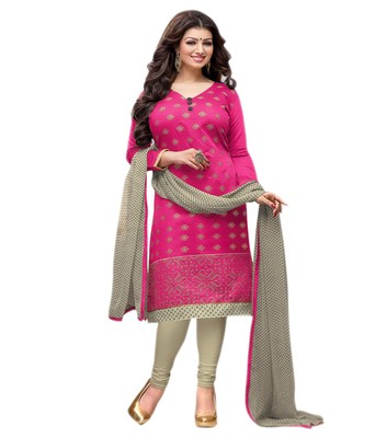Pink printed chanderi salwar with dupatta