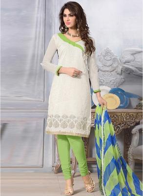 Off white printed chanderi salwar with dupatta