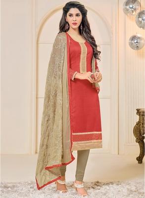Red embroidered chanderi salwar with dupatta