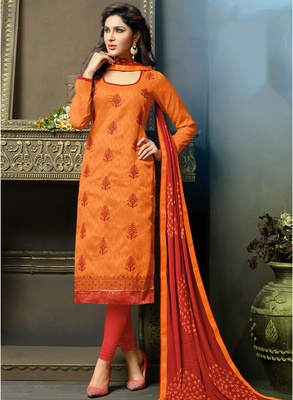Orange embroidered jacquard salwar with dupatta