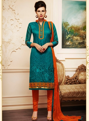 Green embroidered chanderi salwar with dupatta