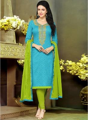 Blue embroidered jacquard salwar with dupatta
