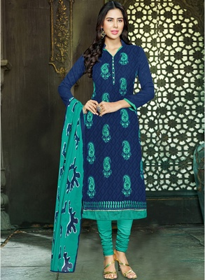 Navy blue embroidered jacquard salwar with dupatta