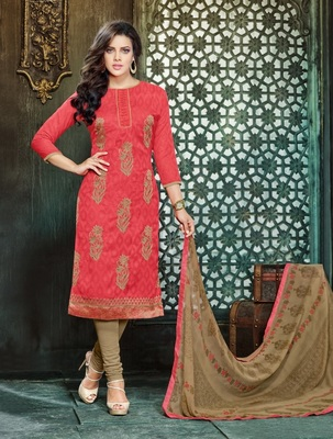 Red embroidered jacquard salwar with dupatta