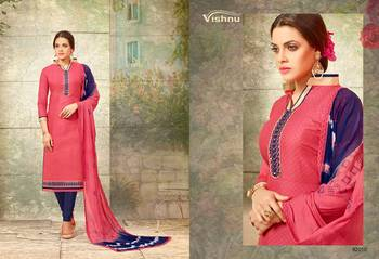 Pink embroidered pure cotton salwar with dupatta