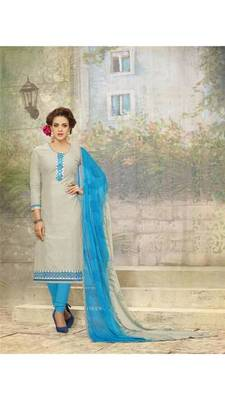 Grey embroidered pure cotton salwar with dupatta