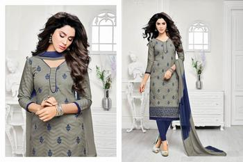 Grey embroidered jacquard salwar with dupatta