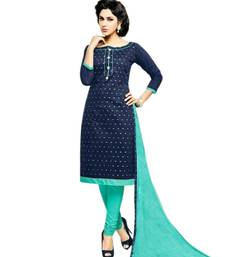 Navy blue embroidered cotton salwar with dupatta