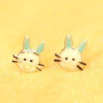 92.5 Sterling Silver Bunny Rabbit Baby Earrings