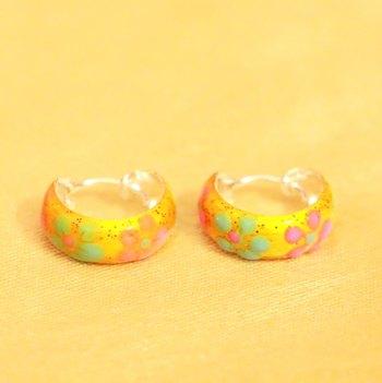 92.5 Sterling Silver Yellow Flower Pattern Earrings