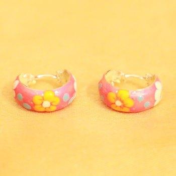 92.5 Sterling Silver Baby Pink Flower Pattern Earrings