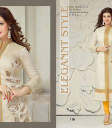 Buy Off white embroidered chanderi salwar dress-material online