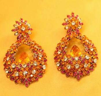 Multicolour Cocktail Zircon Studded Fashion Earrings