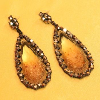 Zircon Studded Imitation Brown Fashion Earrings