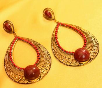 Gold Plated Antique Red Coral Stone Fashion Earrings