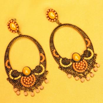 Antique Multicolour Long Fashion Earrings