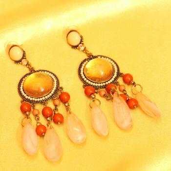 Pink Onyx Antique Finish Fashion Earrings
