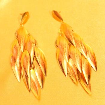 Gold Plated Leaf Pattern Fashion Earrings