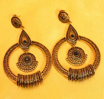 Antique Gold Plated Filigree Blue Earrings