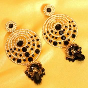 Black Onyx Zircon Studded Fashion Earrings
