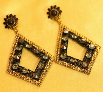 Black Zircon Studded Gold Plated Fashion Earrings