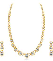 Classy Gold Plated Austrian Stone Gold Finish Necklace Set