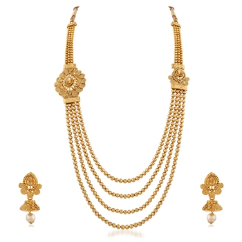 48bc87d4258 Gold plated pearl and kundan 4 layer necklace set - RICH LADY - 2288622
