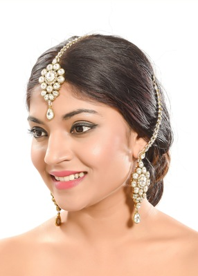 Kundan Stone Designer Gold Finish Earring With Tikka