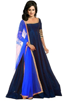 480154ab717f2 Navy blue plain silk long gown with dupatta - Fashion at Rivaa - 2289028