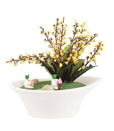 Buy Cute Yellow Artificial Plant with Pot  and  Rabbit Motif flower online