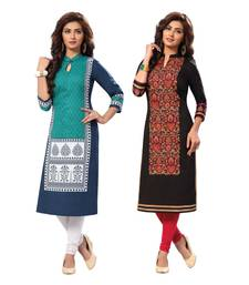 Buy Multicolor printed cotton unstitched kurtas-and-kurtis wedding-season-sale online