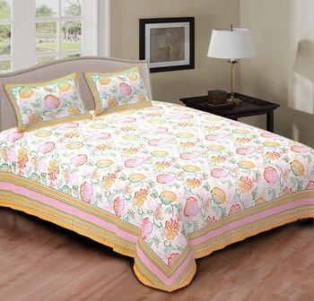 Ridan Multi colour floral printed cotton double bed sheet with pillow cover
