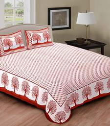 Buy Red And White Printed Cotton Double Bed Sheet With Pillow Cover Bed Sheet  Online