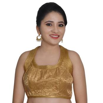 6ee99ba9ba62d Gold Brocade Banarasi High Neck Sleeveless Padded Readymade Saree Blouse -  9blings - 2291582