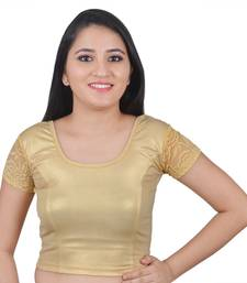 Light Gold Round Neck Stretchable Cap Sleeves Lycra Readymade Saree Blouse For Women