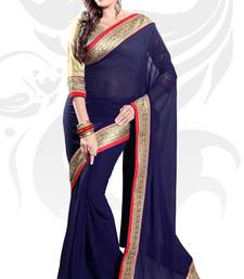 Buy Navy Blue Faux Georgette Embroidered Saree With Blouse party-wear-saree online